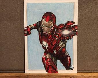 Original Iron Man Sketch Trading Card - JD Card No. 7