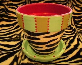 Zebra Print Flower Pots - Painted Flower Pots - Succulent Planters - Herb Pots