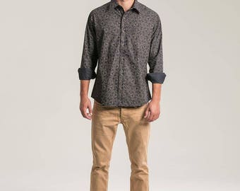 LSD Molecule Long Sleeve Button Down Shirt For Man, Psychedelic Mens Clothing, Psy, Elegant, Mens Wear, Black Button Down