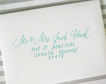 Magnolia Monoline Style; Affordable Wedding Envelope Calligraphy; Hand Addressed