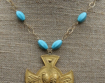 Vintage School Excellence Merit Medal Necklace