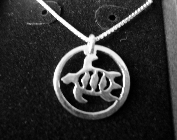 Sea turtle necklace dime size w/sterling silver necklace
