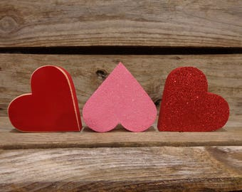 Valentine Decor, Valentines Decoration, Valentines Day Gift, Heart shelf sitters set of 3