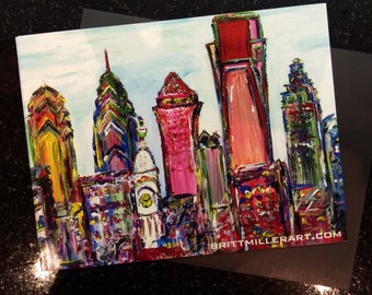 Colorful Philly Skyline Magnet
