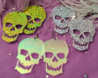 Sweet Skull Acrylic Earrings in Sparkle Lime Green, Silver, or Radiant