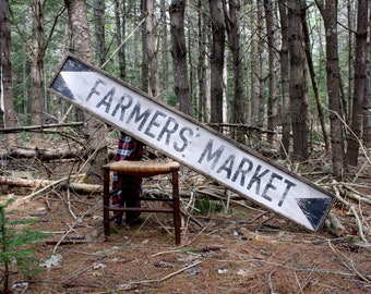 6ft Farmers Market Wood Sign Farmhouse Decor Country Decor Extra Large Sign Rustic Sign Framed Wood Sign