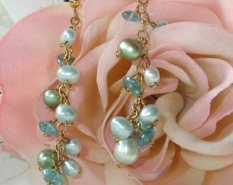 Apatite and pearl gold plated cluster earring