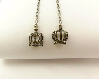 Crown Earrings, Antique Bronze Tone Dangling Chain