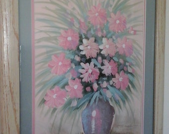 Signed original mixed paint florals