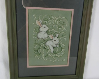 Vintage hand made cross stitch picture white bunnies in cabbage