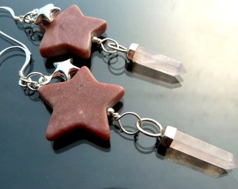 Shooting Star long earrings with pink rhodonite rose quartz crystals in sterling silver stars raw crystal OOAK jewelry