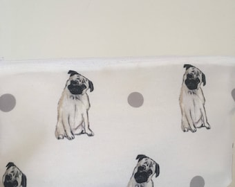Pug, makeup bag, cosmetics bag, for pug lovers, for pug owners, for makeup lovers, pug gift