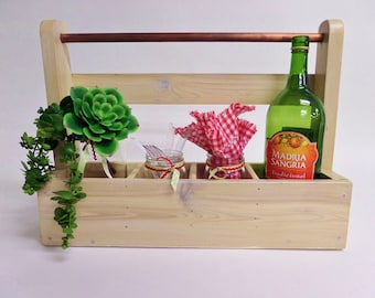 Reclaimed Wood Wine Rack - Whitewashed Wine Bottle Carrier - Planter - Picnic Tote
