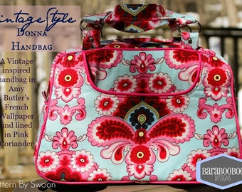 Swoon Donna Vintage Bag in Amy Butler French Wallpaper and lined in Pink Coriander purse, handbag,