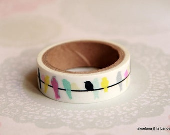 Masking tape, washi tape birds colors 15mm x 10m 1 roll