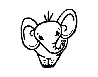 Cute Elephant Rubber Stamp Large Ellie the Elephant
