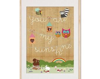 You are my sunshine - nursery print on wood with cute animals kids art, kids room decor