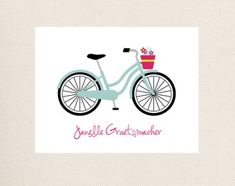 Bicycle Note Card Set, Personalized