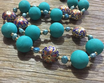 Moroccan Fox - Bright Aqua Handmade Statement Necklace