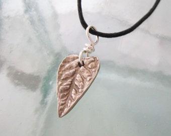 Sterling Silver Heart Shaped Leaf Necklace on Adjustable Cord