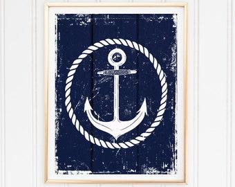 Anchor Nautical Art Print Navy Blue Wall Decor Rustic Nautical Decor Home Decor Instant Download Printable Art Bedroom Decor Nautical Art