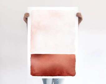 Abstract Rust Landscape A1 Art Print, Blush Pink and Copper Poster, Rothko Inspired Minimalist Art, Light Modern Abstract Art, Wall Decor