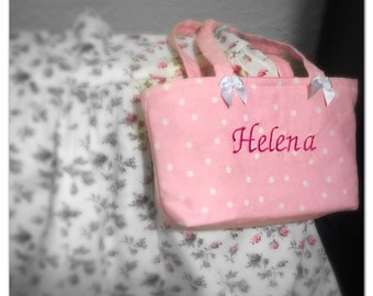 """This adorable handbag for your loved little girl (size 9.5"""" x 6""""). Personalize with her name... Pick your favorite color!"""