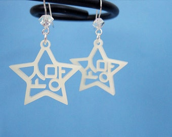 Korean Hangul Wish Earrings (Somang) Ivory, Wedding Gift for Her, Korean Bridal Shower, Star Shaped Jewelry, Anniversary Love Earrings