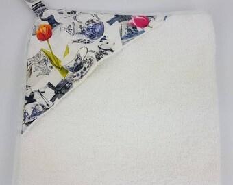 Badcape delfts blauw en tulpen