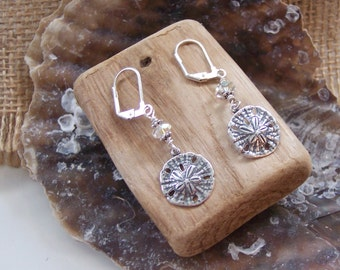 Sand Dollar Earrings, Sand Dollar Jewelry, Beach Earrings, Coastal Jewelry, Beach Lovers Gift, Gifts For Her Under 15, Beach Wedding Favors