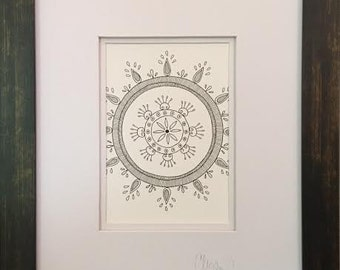 Original Abstract Design Pen and Ink Drawing