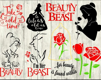 Beauty and the Beast SVG Bundle, Belle SVG Bundle, cut file, clipart, svg files for silhouette, files for cricut, svg, dxf, eps, png, scal