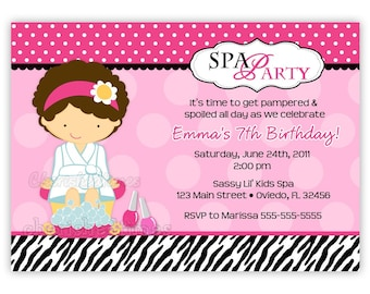 Cute Zebra And Pink SPA Birthday Invitation (U Print)