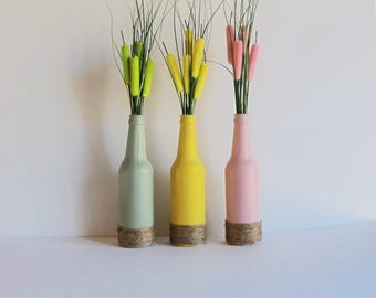 Easter Vase Set, Easter Table Decor, Pink Painted Bottle, Rustic Home Decor, Recycled Beer Bottle, Twine Wrapped, Painted Vases, Easter Gift