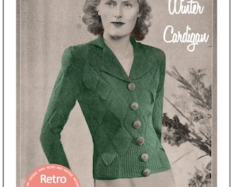 1930s Winter Cardigan Vintage Knitting Pattern -  PDF Instant Download