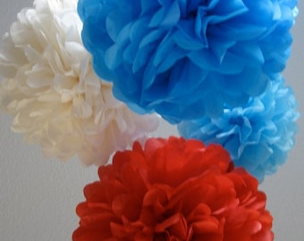 100 Tissue Paper Pom Poms for large event decor - Patriotic - 4th of July - Memorial Day