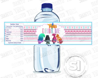 INSTANT DOWNLOAD-Trolls Printable Water Bottle Labels-Tags, DIY (You Print) Water Bottle Label-Drink me