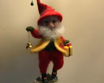 Needle felted Dwarf, Waldorf inspired, Christmas Dwarf, Art doll, Christmas  decor,  Christmas tree