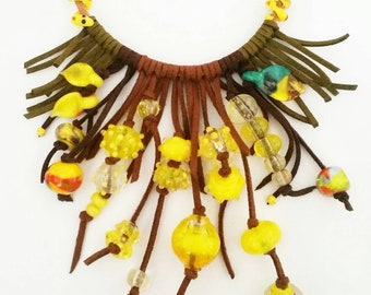 Handmade lampwork yellow beaded necklace