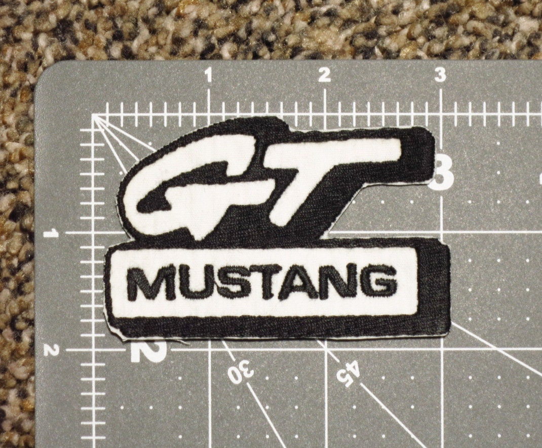 Ford Gt Mustang Logo With Name In Black Thread And White