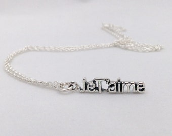 JeT'aime Sterling Silver word Necklace, Chain with Love Intention Charm, Inspiring word, Statement Necklace Mothersday gift, Bridesmaid gift