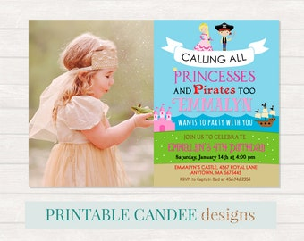 Princess and Pirate Birthday Invitation, Princess Pirate Birthday, Neutral Birthday Party Invite, Pirate Birthday, Princess Birthday