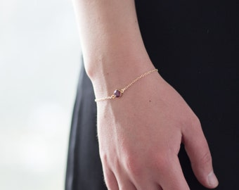 Bridesmaid Gift - Bridesmaid Bracelet - Birthstone Bracelet - Birthstone Bridesmaid Jewelry - Single Stone Bracelet - Tiny Gold Birthstone