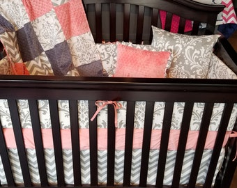 Baby Girl Crib Bedding - Coral, Gray Chevron, and White Gray Damask Crib Bedding Ensemble