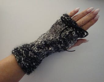 Black and white, Black Lace, mohair, warm knit mittens