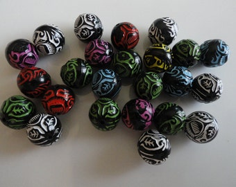 50 Acrylic Tribal Style Beads Colorful Assortment