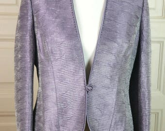 Lilac Blazer, British Vintage Light Purple Elegant Jacket: Size 10 US, 14 UK