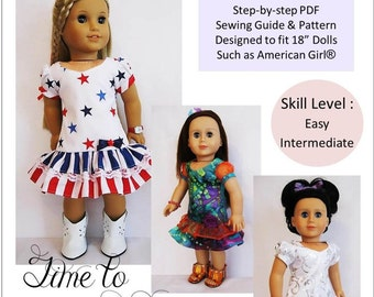 Pixie Faire Little Miss Muffett Time To Celebrate Doll Clothes Pattern for 18 inch American Girl Dolls - PDF