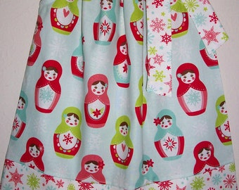 Pillowcase Dress Christmas Dress Merry Matryoshka Dress with Dolls Riley Blake girls dresses Babushka Dress Holiday Dress toddler dresses