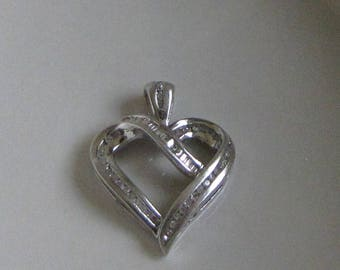 Silver and Diamonds Heart Pendant Vintage Sterling Silver .925 Jewelry Women's Necklace and Accessories Valentines Gifts Valentines Day